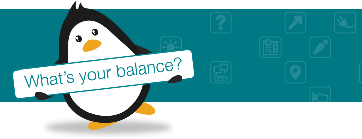 What's Your Balance penguin banner